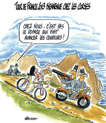 dessin : tour de France 2013, départ en Corse