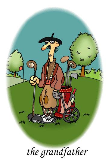 dessin humoristique de golf, la passion du golf : Le grand père